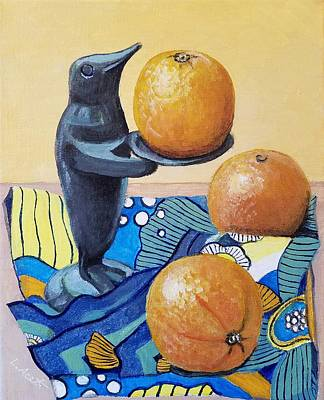 Sculpture - Penguin With Oranges by Laura Aceto