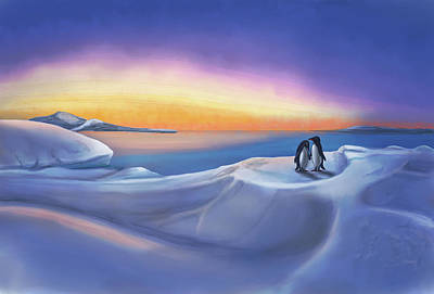 Painting - Penguins at daybreak by Temah Nelson