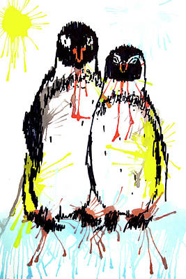 Drawing - Penguins - Best Friends by ZileArt