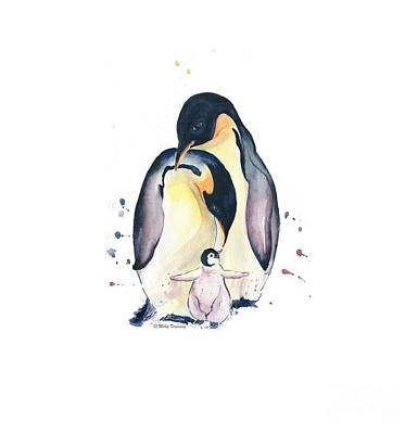 Painting - Penguins Family Watercolor by Melly Terpening