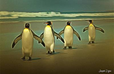 Penguins In The Beach - Da Art Print