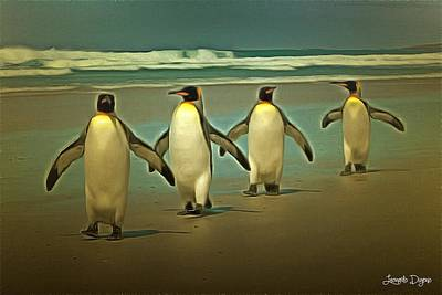 Penguins In The Beach Art Print