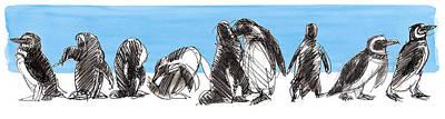 Mixed Media - Penguins by Judith Kunzle