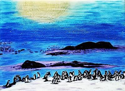 Penguins Land Art Print