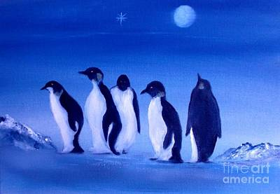 Painting - Penguins On A Night Out.sold by Cynthia Adams