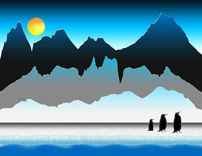 Penguins On The Move Art Print by Phil Perkins