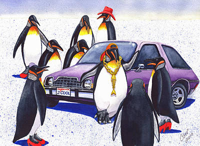 Low Rider Painting - Penguin's Purple Pacer by Catherine G McElroy