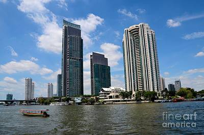 Photograph - Peninsula Hotel Skyscrapers And Boat Across Chao Phraya River Bangkok Thailand by Imran Ahmed