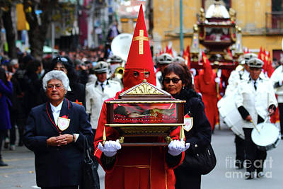 Semana Santa Wall Art - Photograph - Penitent Carrying Holy Sepulchre At Good Friday Processions by James Brunker