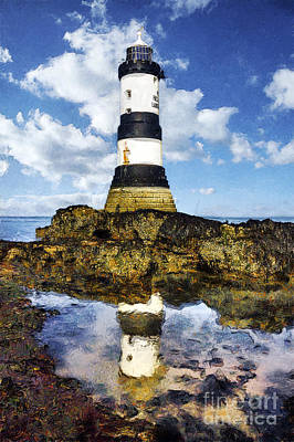 Navigation Digital Art - Penmon Lighthouse Painting by Ian Mitchell