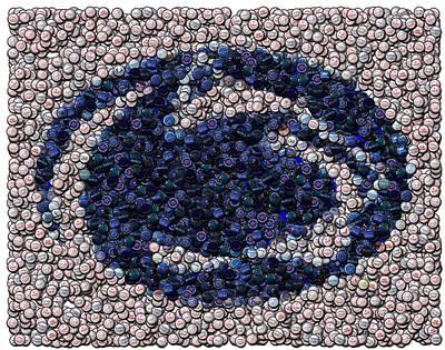 Penn State Bottle Cap Mosaic Art Print