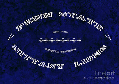 Photograph - Penn State Nittany Lions Football Tribute Poster Dark Blue by John Stephens