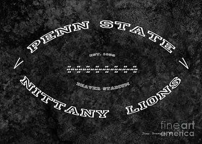 Photograph - Penn State Nittany Lions Football Tribute Poster Mottled Charcoal by John Stephens
