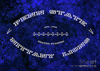 Photograph - Penn State Nittany Lions Football Tribute Poster Mottled Vivid Blue by John Stephens