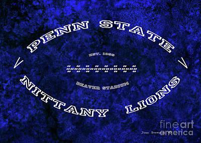 Photograph - Penn State Nittany Lions Football Tribute Poster Mottled Vivid Blue by John Stephens