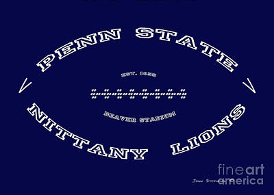 Photograph - Penn State Nittany Lions Football Tribute Poster Solid Dark Blue by John Stephens