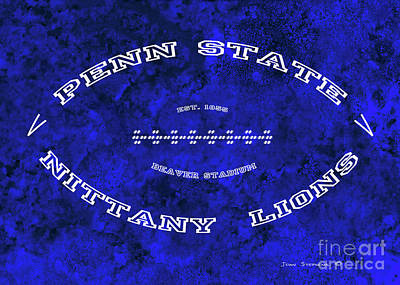 Photograph - Penn State Nittany Lions Football Tribute Poster Vivid Blue by John Stephens