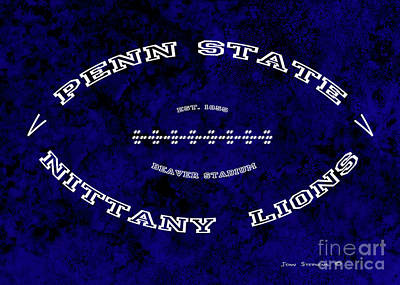 Photograph - Penn State Nittany Lions Football Tribute Poster Vivid Dark Blue by John Stephens