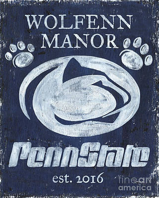 Football Paintings - Penn State Personalized by Debbie DeWitt