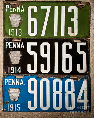 License Plate Photograph - Penna 1913 - 1915 License Plate by Pittsburgh Photo Company