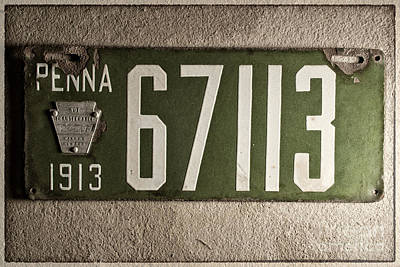 License Plate Photograph - Penna 1913 License Plate Outline by Pittsburgh Photo Company