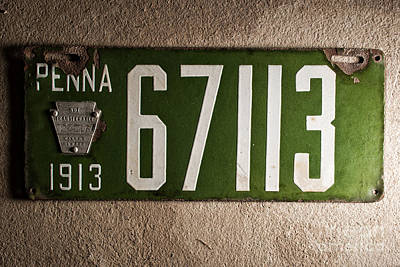 License Plate Photograph - Penna 1913 License Plate by Pittsburgh Photo Company