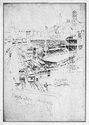 Art Print featuring the drawing Pennell Polo Grounds 1921 by Granger