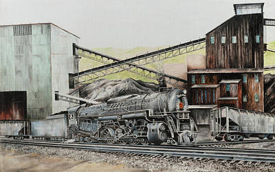 Painting - Pennsy At Barnes And Tucker Mine Barnesboro Pa by Paul Cubeta