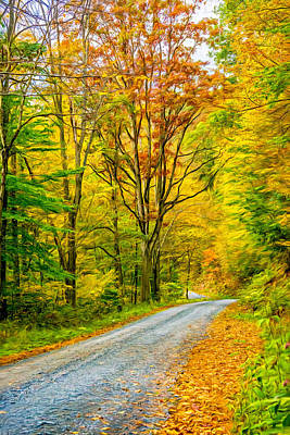 Fallen Leaf Digital Art - Pennsylvania Back Road - Paint by Steve Harrington