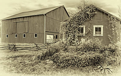 Photograph - Pennsylvania Barn 3- Paint - Sepia by Steve Harrington