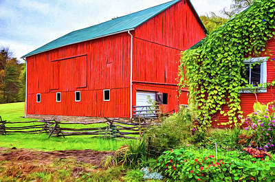 Cedar Fence Photograph - Pennsylvania Barn 5 - Paint by Steve Harrington