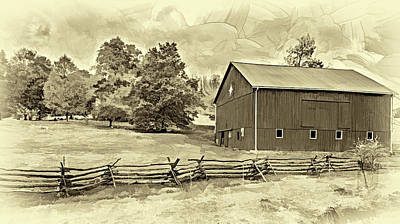 Photograph - Pennsylvania Barn - Paint 2 - Sepia by Steve Harrington