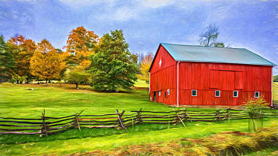 Cedar Fence Photograph - Pennsylvania Barn - Paint by Steve Harrington