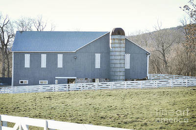 Photograph - Pennsylvania Blue Barn Countryside by Andrea Hazel Ihlefeld
