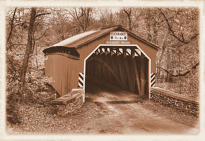 Photograph - Pennsylvania Country Roads - Fleishers Covered Bridge Over Big Buffalo Creek Sepia - Perry County by Michael Mazaika