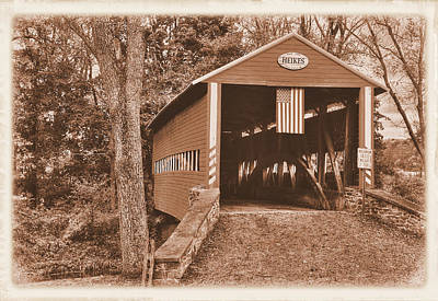 Photograph - Pennsylvania Country Roads - Heikes Covered Bridge Over Bermudian Creek Sepia - Adams County by Michael Mazaika