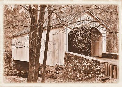 Photograph - Pennsylvania Country Roads - Loux Covered Bridge Over Cabin Run Creek No. 2as - Autumn Bucks County by Michael Mazaika