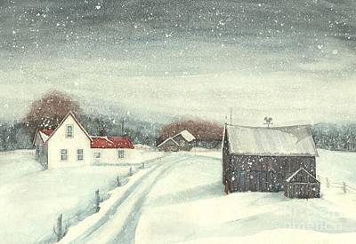 Painting - Pennsylvania Farmhouse - Chance Of Flurries by Janine Riley