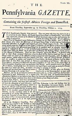 Photograph - Pennsylvania Gazette, 1729 by Granger