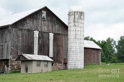 Photograph - Pennsylvania Gray Barn Landscape by Andrea Hazel Ihlefeld