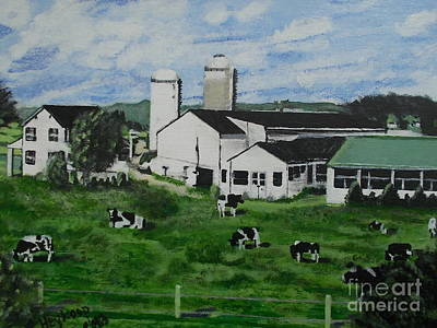 Painting - Pennsylvania Holstein Dairy Farm  by Francine Heykoop