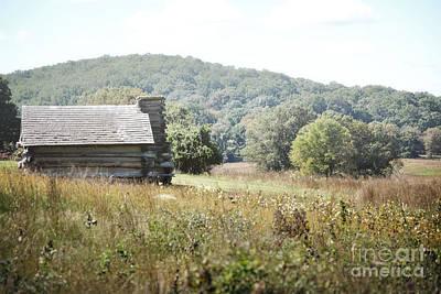 Pennsylvania Log Cabin Field Landscape Art Print by Andrea Hazel Ihlefeld