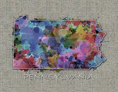 Dainty Daisies - Pennsylvania Map Color Splatter 5 by Bekim M