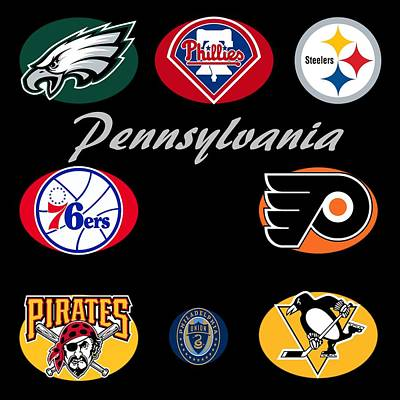 Phillies Digital Art - Pennsylvania Professional Sport Teams Collage  by Movie Poster Prints