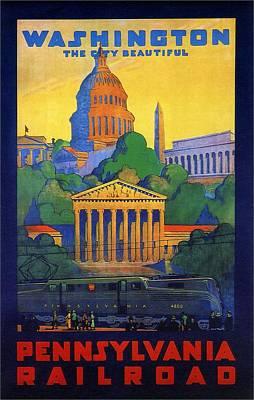 Washington Monument Wall Art - Mixed Media - Pennsylvania Railroad, Washington, The City Beautiful - Retro Travel Poster - Vintage Poster by Studio Grafiikka