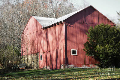 Photograph - Pennsylvania Red Barn Autumn Leaves by Andrea Hazel Ihlefeld