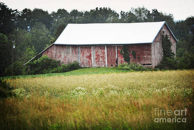 Photograph - Pennsylvania Red Barn Field Rustic Summer Landscape by Andrea Hazel Ihlefeld