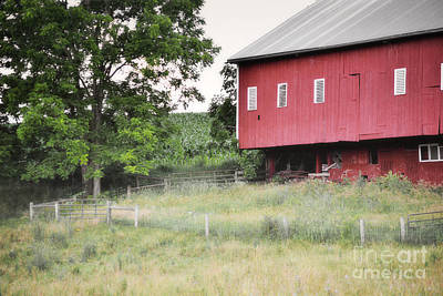 Photograph - Pennsylvania Red Barn Meadow Landscape by Andrea Hazel Ihlefeld