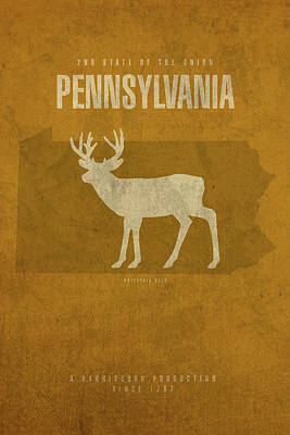 Map Of Pennsylvania Mixed Media - Pennsylvania State Facts Minimalist Movie Poster Art by Design Turnpike