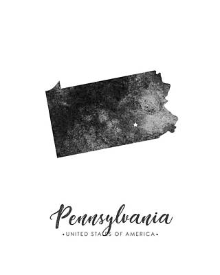Map Of Pennsylvania Mixed Media - Pennsylvania State Map Art - Grunge Silhouette by Studio Grafiikka